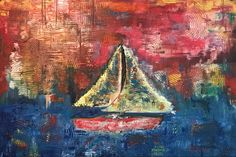 Sunset sailing, painting by JM, 2015