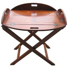 century English mahogany butlers tray table on a bar height stand with brass hinges. Pallet Furniture, Cool Furniture, Furniture Design, Rv Table Ideas, Butlers Tray Table, Butler Tray, Brass Hinges, 19th Century, Table Decorations