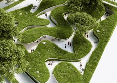 Architecture studio Penda has designed a meadow containing sunken pathways and concealed meeting places, which opens next month as part of China's International Garden Expo 2015
