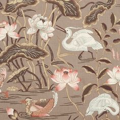 Lotus Garden | 172934 in Mocha | Schumacher Fabric