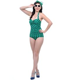 Vintage 1950s Style Pin Up Green & Navy Polka Dot Swimsuit #uniquevintage