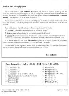 Calcul réfléchi CE2 (1994) Words, School Organisation, Keyboard, Horse