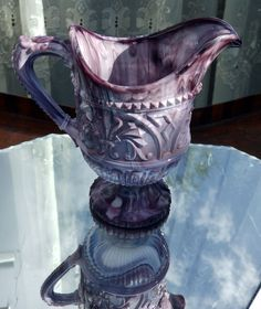 Victorian Pressed Glass : An attractive ' Slag ' Jug - purple Malachite