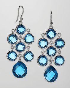 Elizabeth Showers - London Blue Topaz Cascade Earrings