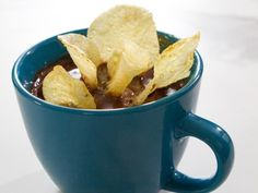 Get Peanut Butter Mug Cake with Chocolate Icing and Potato Chips Recipe from Food Network