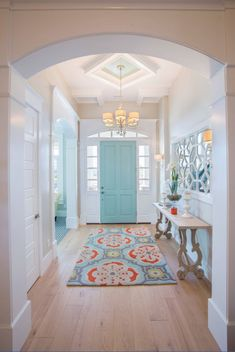 My dream home! House of Turquoise: Highland Custom Homes door color perfection. Just sayin' Home Design, Flur Design, Design Ideas, Design Trends, Design Design, Design Projects, Design Styles Interior, Colorful Interior Design, Modern Home Interior Design