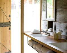 Comfortable Cottage Interior Surrounded By Lust Trees: Eclectic Bathroom Design Rustic Oak Backsplash Barn Conversion