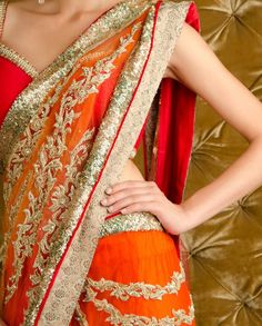 Kisneel by PAM MEHTA's Orange Red Embellished Blingy #Saree + Stitched Blouse $1,710 eStore: http://kisneelbypam.com/