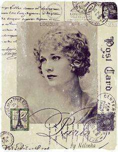 Vintage lady on French postcard with stamps Vintage Prints, Éphémères Vintage, Images Vintage, Vintage Labels, Vintage Ephemera, Vintage Pictures, Vintage Cards, Vintage Paper, Vintage Woman