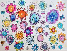 Watercolor Flowers with Pen and Marker