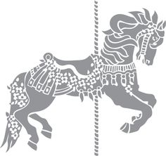 Glass etching stencil of Carousel Pony. In category: Celebrations, Horses