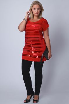 cool casual dresses red sequin detail top with contrast zip at back plus size check more at