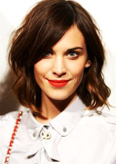 Alexa Chung, beautiful hair and red lips