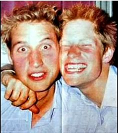 Royal Brothers in a very candid shot. Prune William and Prince Harry in a photo booth. Funny.