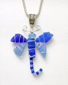 Sea Glass Dragonfly Pendant in Shades of Blue by oceansbounty, $20.00