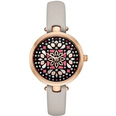 Kate Spade New York, In bloom: this pretty new version of our popular metro watch features a neutral band and a dial adorned with a floral mosaic.
