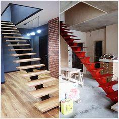 лестница на одном центральном косоуре, ремонт в новостройке