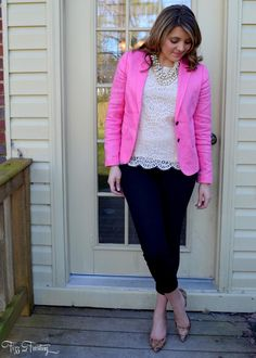 J.Crew Factory bright pink spring blazer, blush lace top, animal print patent pumps