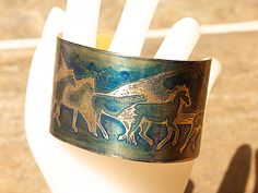 A great etched brass cuff for horse lovers - Blue HORSE Bracelet  1.5 inches wide,  by Joann Hayssen Designs SRA  $35.00  -  20% of the purchase price will be donated to Rosemary Farm horse rescue and sanctuary! https://www.etsy.com/listing/193464259/blue-horse-bracelet-etched-brass-cuff-15?ref=shop_home_active_1