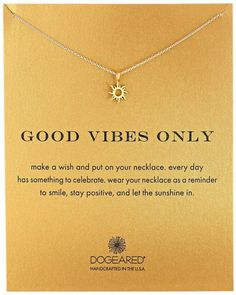 Good Vibes Only Gold Sun Charm Pendant Necklace, Reminder to always be happy