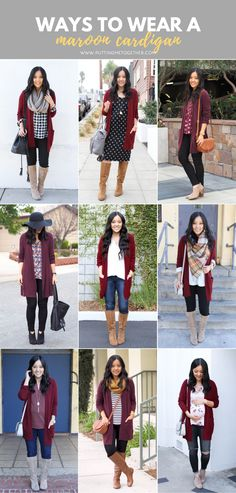 9 Outfits with a Maroon Cardigan - Outfits with a Maroon Cardigan Source by - Outfits With Grey Cardigan, Winter Cardigan Outfit, Maroon Outfit, Burgundy Cardigan, Maroon Sweater, Cardigan Fashion, Style Casual, Casual Fall Outfits, Fall Winter Outfits