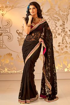 Satya Paul Bridal Collection - Black georgette with Net Insertion and Kundan border saree