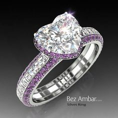 Amethyst engagement ring - Silvet with a 1.15ct center diamond ,a frame of Amethysts and Blaze® diamonds on the shank.