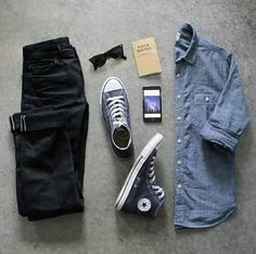 Outfit grid - Denim shirt & black jeans