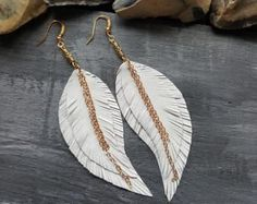 Suede leather earrings. Statement earrings. Long feather