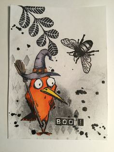 Balinese Arts and Crafts Halloween Paper Crafts, Halloween Cards, Fall Halloween, Crazy Bird, Crazy Cats, Crazy Animals, Cat Cards, Bird Cards, Greeting Cards