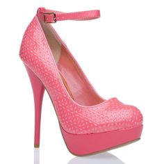 Good golly, Miss Molly! A plethora of perforations reveals a glittery underlay on this glossy platform pump.