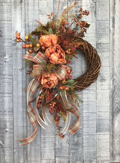 This fall twig wreath with its plaid bow and sweeping plaid and cream tails is the perfect compliment to your Thanksgiving and fall celebrations! Autumn Wreaths For Front Door, Front Door Decor, Holiday Wreaths, Door Wreaths, Rustic Wreaths, Twig Wreath, Bow Wreath, Wreath Fall, Floral Wreath