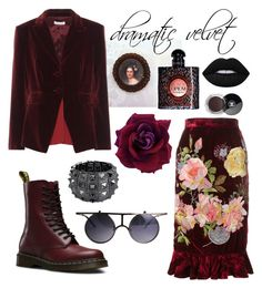 """dramatic velvet"" by redstitch ❤ liked on Polyvore featuring Dr. Martens, Altuzarra, Bling Jewelry, Yves Saint Laurent, Chanel, Alice Archer, Lime Crime, Punk, velvet and redstitchlab"