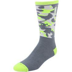 NBA Logo Pop Tall Socks - Dark Gray/Neon Green - $8.99