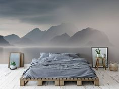 Foggy lake Scandinavian Bedroom Wall Murals Nature Pixers We live to chang., Foggy lake Scandinavian Bedroom Wall Murals Nature Pixers We live to change. White Bedroom, Bedroom Sets, Modern Bedroom, Contemporary Bedroom, Bedroom Green, Bedroom Colours, Cosy Bedroom, Bedroom Neutral, Bedroom Simple