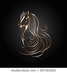 Copper Abstract Horse Reflection On Black stockvector (rechtenvrij) 397355401 Horse Head Drawing, Stock Foto, String Art, Silhouette, Horses, Abstract, Drawings, Artwork, Image