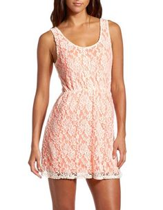 Pop Color Lace A-Line Dress: Charlotte Russe - Just add leggings, boots and a jacket for fall!