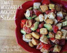 Tomato Mozzarella and Avocado Salad: delicious and quick to throw together!  by Crafty Auntie for Mine for the Making #recipe