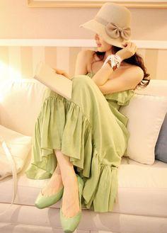 Bohemian Style Lotus Leaf Strapless Long Dress Green