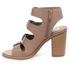 Women's dv Tessa Multiple Buckle Heeled Quarter Strap Sandals - Tan 6.5
