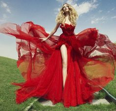 Flowing red gown