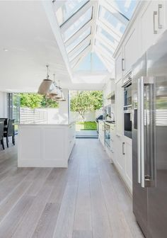 #homedecor #kitchenideas #inspiration | Design ideas for a contemporary galley eat-in kitchen in London with white cabinets, shaker cabinets, stainless steel appliances, light hardwood floors and an island. — Houzz Source