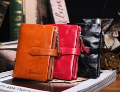 38.00$  Watch here - http://aikuo.worlditems.win/all/product.php?id=1909824363 - Head layer  wax oil Leather women short wallet European and American lady purse Fashion  Leather wallet Vertical change purse