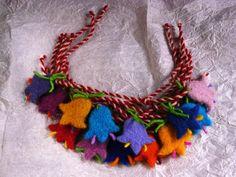 Martenici bracelet Baba Marta, Tassel Necklace, Crochet Necklace, Bulgaria, Felting, Activities For Kids, Bracelet, Children, Diy