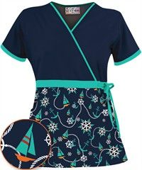 cutest scrub top, ever. Healthcare Uniforms, Nursing Wear, Icu Nursing, Nursing Shoes, Scrubs Uniform, Sewing Blouses, Medical Scrubs, Business Outfits, Dress Tutorials