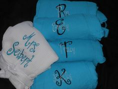 Monogrammed Bridesmaid Robes Set of 5.  Great Gift ..Bride robe with backside embroidery. via Etsy.