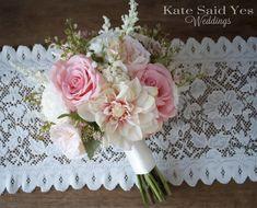 Blush Pink and Ivory Dahlia Garden Rose and Ranunculus Garden Wedding Bouquet - Silk Wedding Bouquet