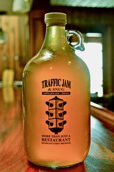 Detroit beer culture. Michigan's first brew pub- Traffic Jam & Snug growler. I want to go here!