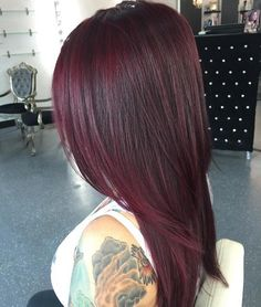 layered burgundy hair
