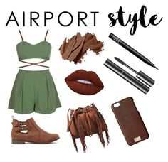"""""""Jet Set: Airplane Style"""" by luludesi1234 ❤ liked on Polyvore featuring Bobbi Brown Cosmetics, NARS Cosmetics, Chanel, Lime Crime, Diane Von Furstenberg and HEX"""